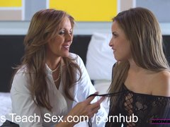 MomsTeachSex Step mom fucks son in hot threesome