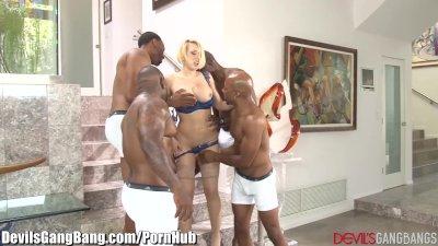 Kagney Linn Karter Gangbanged by 4 ebony Guys
