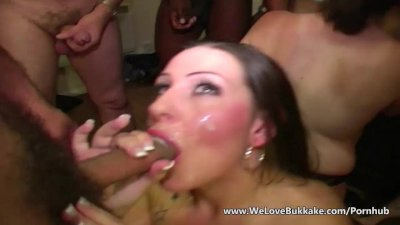 Facial cumshots over Dani Armour