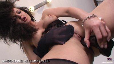 Amazing upskirt foot lover masturbation scene by Sandra Shine