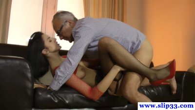 Young tall euro lingerie model in casting threeway