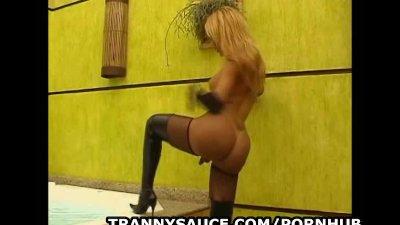 Foxy tranny pornstar Paula Bruna tugs on her cock