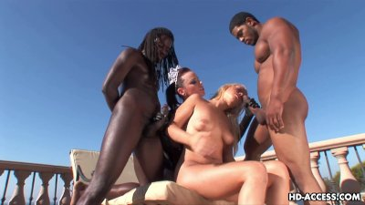 Two maids fuck with black guys