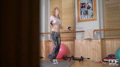 Russian teen Liona rides a realistic cock and balls till orgasm
