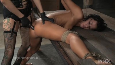 Contortionist gets fucked in lezdom bondage