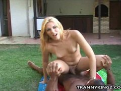 Blonde Shemale Outdoor Interracial Anal Fucked