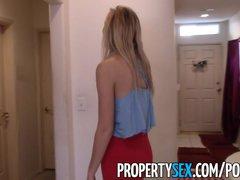 PropertySex - Absolutely stunning blonde realtor fucks renter in apartment