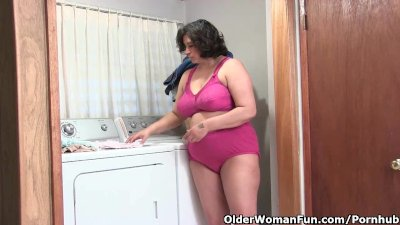 Lactating granny drinks her own milk and masturbates in panties