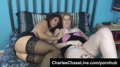 Horny Charlee Chase plays with shy girlfriend's pussy