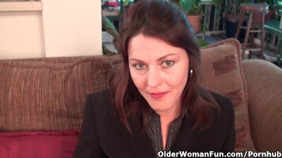 Business milf in panties and pantyhose works her hairy pussy