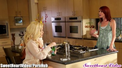 SweetHeart Blonde and Redhead Lick Pussy in Kitchen