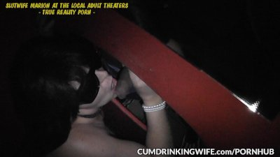 Slutwife is servicing strangers at gloryholes and adult theaters