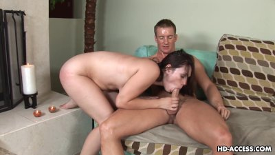 Busty brunette sucking on the dick like a pro