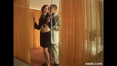 Sexy redhead in heels stripped licked and fucked hard in bed by her man