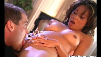 amazing asian sucks cock and rides cock like an animal before tasting a loa