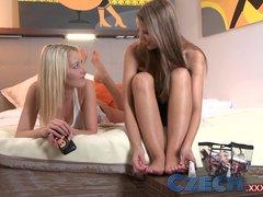 Czech Shy girl lets BFF suck her virgin pussy