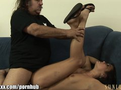SunLustXXX Ron Jeremy checks under Cece Stone s skirt and NO PANTIES