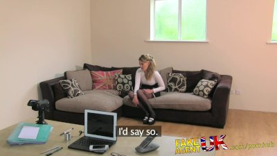 FakeAgentUK Deep throat fucking and creampie for British amateur