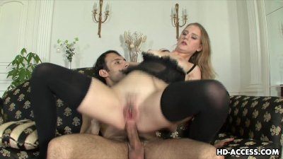 Lingerie wearing seductress gets rough ass fucked