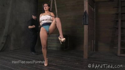 Penny Barber Bound in Tight Rope Bondage Predicament