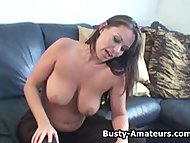 Busty amateur Leslie masturbates after some naughty interview