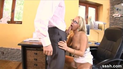 Red hot blonde babe in glasses sucks thick cock deep in the office