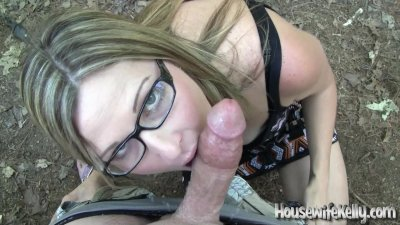Cute POV wifey gives a daring outdoor blowjob and takes a sloppy facial