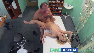 FakeHospital Doctors halloween wardrobe malfunction gets blonde horny