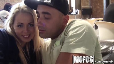 Mofos - Young couple fuck in café in public