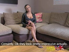 FakeAgentUK Big fat dick is too much for ebony babes tight arse