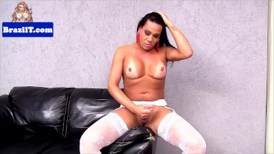Busty latina tranny jerking until cumshot