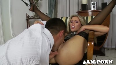 Stockinged escort pussylicked and fucked