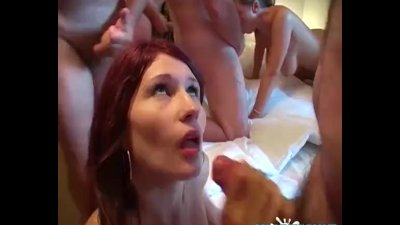 Gangbang party with amateur Le
