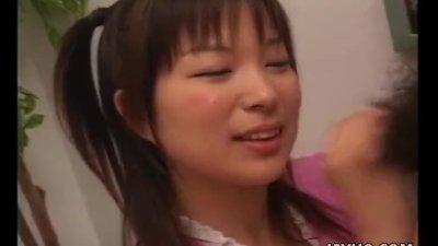Precious Asian brunette has a