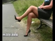 Stiletto babe Karen with shoe fetish teasing in pointed black high heels