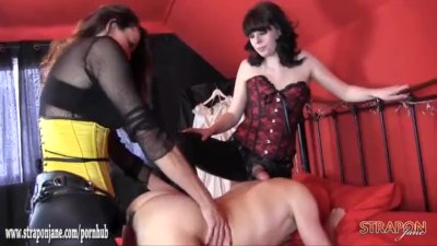 Good hard double dom spitroast anal fuck with big strapons for sissy slut
