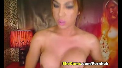 Shemale with Massive Tits Plays Her Big Cock