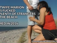 Slutwife Marion gangbanged by strangers on the beach in Summer 2016