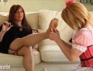 Hot blonde TGirl maid worships tranny mistress feet and then sucks big cock