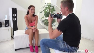Kari K does her best to impress the interviewer in modeling agency casting