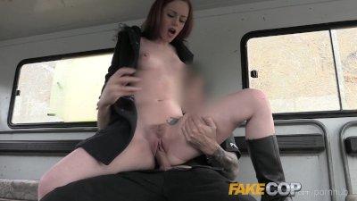 Fake Cop Slutty Farm girl fucks policemans big cock