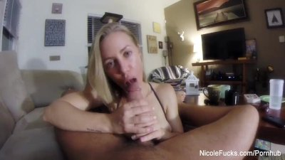 Pornstar Nicole jerks off a cock POV style