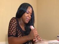 Teen ebony strokes a big dick
