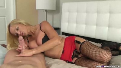 Blonde milf POV jerking off