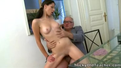 Tricky Old Teacher - Simona's first time blowjob