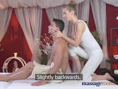 Preview 1 of Massage Rooms Horny Brunette Fucks Her Clients Big Cock Before Creampie