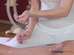 Preview 4 of Massage Rooms Horny Brunette Fucks Her Clients Big Cock Before Creampie