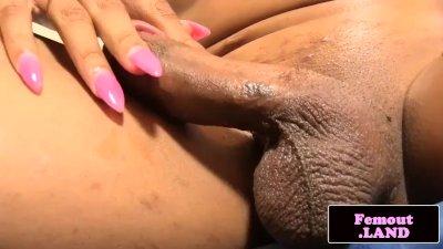 Ebony femboy amateur jerking her cock