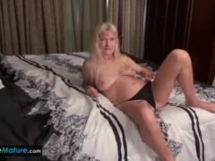 Mature granny blonde small tits showing nipples masturbating hairy ...