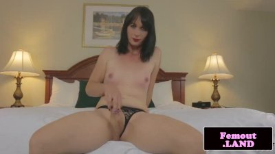 Amateur femboy jerks and shows off trans ass